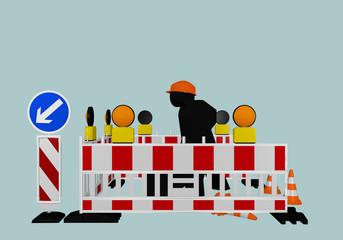 Baustellenabsperrung mit Richtungsweiser, Warnlampen und Bauarbeiter. 3d render