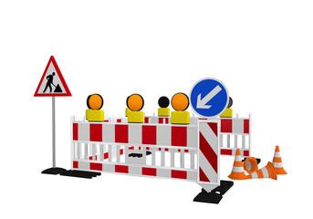 Baustellenabsperrung mit Baustellenschild, Richtungsweiser und Verkehrshütchen. 3d render