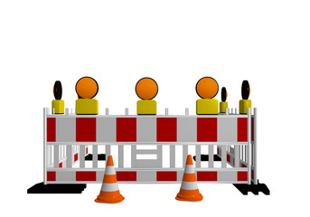 Baustellenabsperrung mit Warnleuchten und Verkehrshütchen. 3d render