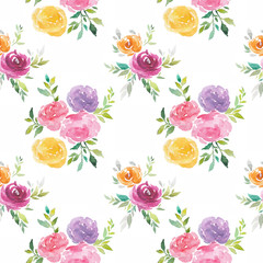 Watercolor flowers seamless pattern, hand painted