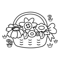 Basket of flower cartoon illustration isolated on white background for children color book