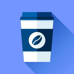 Coffee cup in flat style on blue background. Drink with you. Simple object. Vector design element for your business project