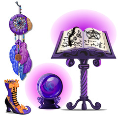 Magical book with spells and the pentagram, glass ball Ouija, Dreamcatcher and magic boots. Sketch for greeting card, festive poster or party invitations. The attributes of the holiday of Halloween.