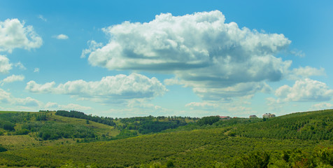 Summer landscape: green hills under blue sky and thunderclouds