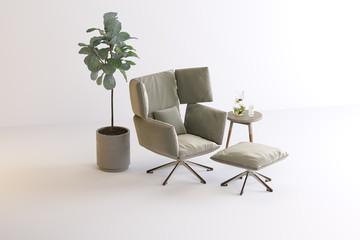 armchair, table, vase, plant