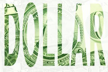 Word dollar on white background
