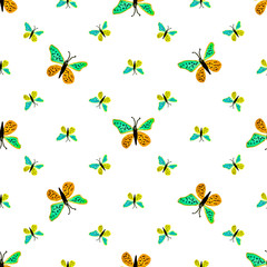 Children Style Butterfly Drawing Seamless Pattern