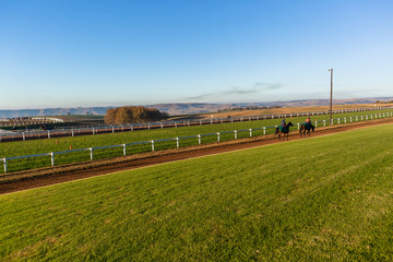 Race Horse Rider Training Track Landscape Morning