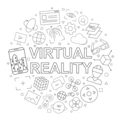 Vector Virtual reality pattern. Virtual reality seamless background