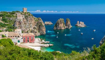 Amazing panorama at the Tonnara di Scopello, province of Trapani, Sicily.