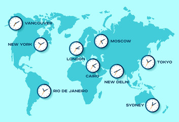 World time. Simple Clock icons on world map. Objects in flat style. New York, London, Tokyo. Watch on blue background. Business illustration for you presentation. Vector design objects.
