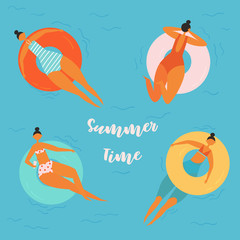 Summer time lettering. Pretty women swims, tanning on life buoy in swimming pool. Girl floating on swimming circle isolated on water background. Inflatable circle. Summer holiday, vacation, travel