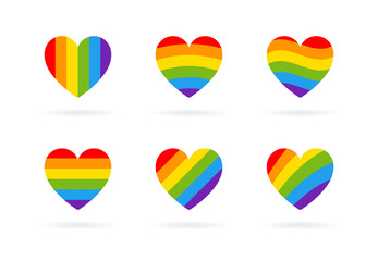Pride LGBT heart vector icon set, Lesbian gay bisexual transgender concept love symbol. Collection of Color rainbow flag. Flat design signs isolated on white background