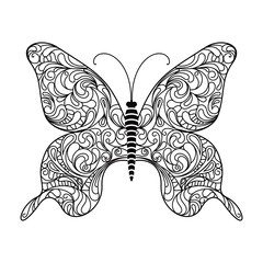 Butterfly. Decorative ornament in doodle style