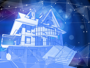 A modern house on a blue background surrounded by digital networks - an illustration of a smart eco-friendly home - the concept of modern information technology smart house or smart city. Vector draw