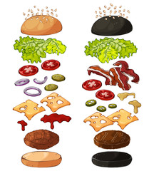 Group of vector colorful illustrations on the theme fast food; set of isolated products for cooking burgers. Pictures contain realistic shadows and glare.