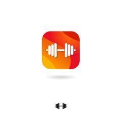 Workout, dumbbells UI icon. Sports, fitness bodybuilding. Rounded square with dumbbells, on a white background. Web icon. Monochrome option.
