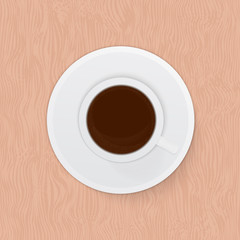 Top view  realistic cup of coffee espresso on wooden background. Morning, breakfast or break concept. Rustic flat lay vector illustration.