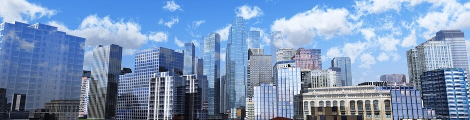 View of the modern city. Panorama of the city center. Skyscrapers against the sky.