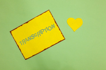 Writing note showing Transcription. Business photo showcasing Written or printed process of transcribing words text voice Nice lime colour grey shadow art paper lovely love hart romantic ideas.