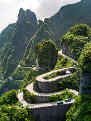 Crazy windy road in Tianmen Mountain, China