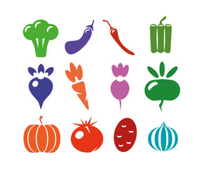 A set of icons of different vegetables on a white background. Logo, vegetables for the farm. Flat style, vector illustration.