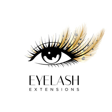 Eyelash extension logo. Makeup with golden feathers. Vector illustration in a modern style