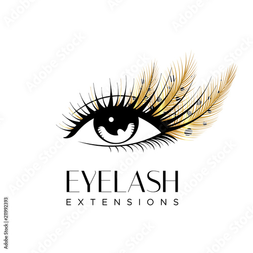 96e40675f2a Eyelash extension logo. Makeup with golden feathers. Vector illustration in  a modern style
