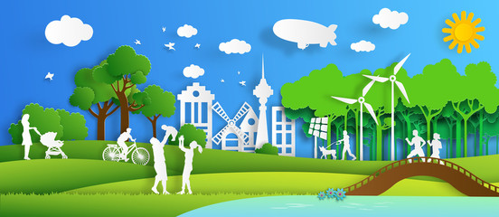 Nature cityscape background and eco friendly concept.
