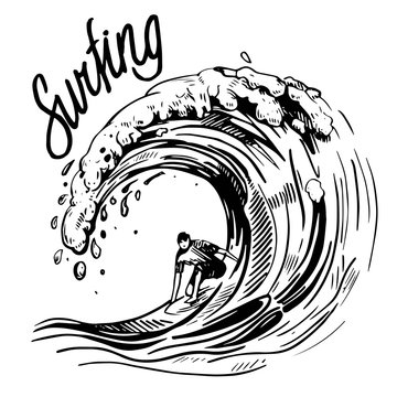 Wave with surfer