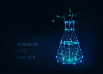 Scientific background with low poly wireframe beaker, tes tube and abstract tetrahedral structure compound.