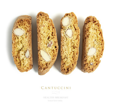 Flat lay, top  traditional italian cantuccini cookies as background.
