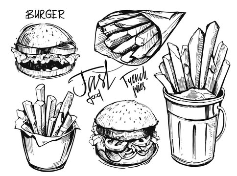 French fries and burger sketch