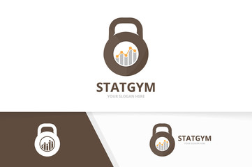 Vector sport and graph logo combination. Gym and diagram symbol or icon. Unique fitness and chart logotype design template.