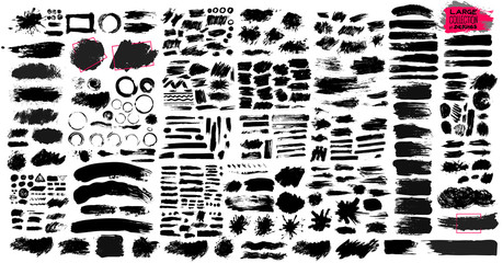 Big Set of black paint, ink brush strokes, brushes, lines, grungy. Dirty artistic design elements, boxes, frames. Vector illustration. Isolated on white background. Freehand drawing