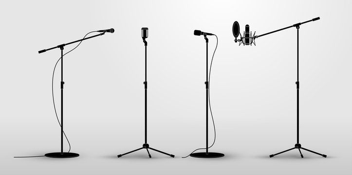 Set of microphones on counter. Flat design silhouette microphone, music icon, mic. Vector illustration. Isolated on white background