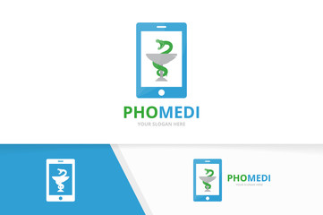 Vector medicine and phone logo combination. Pharmacy and mobile symbol or icon. Unique ambulance and device logotype design template.