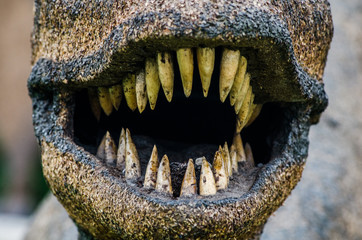 Dinosaur mouth with sharp teeth, terrifying photograph