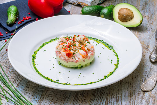appetizer of crab with avocado