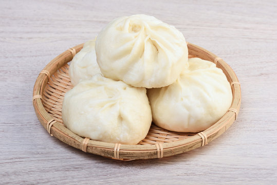 Steamed stuffed buns on bamboo basket