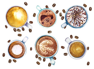 Watercolor cups of coffee, isolated on white background with coffee beans, top view.