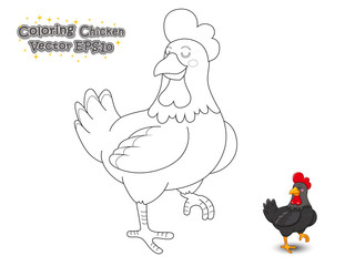 Coloring The Cute Cartoon Chicken. Educational Game for Kids. Vector illustration.