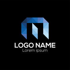 M Letter Logo vector template. Origami letter M logo vector template