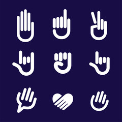 Hand Gesture Sign Set. Vector Line Icons Clip Art collection