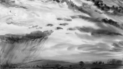 Watercolor painting landscape gray color of rain cloud.