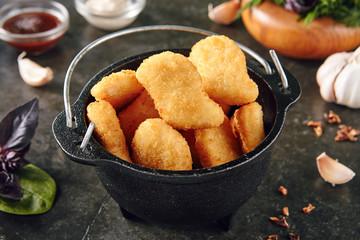 Delicious Chicken Nuggets in Metal Bowler