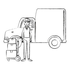 delivery worker with cart transport boxes and van