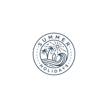 Summer holidays logo badge template vector illustration