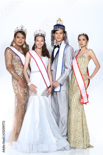 Group Of Beauty Pageant In Formal Dress Evening Gown Wedding
