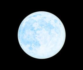夜空に浮かぶ青い満月-ブルームーン